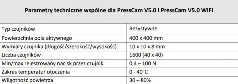 Mata pedobarograficzna - parametry Presscam